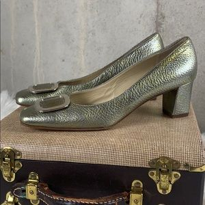 Diane B Milano Heel Gold/Silver Buckle 39.5/9